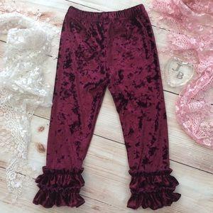 Boutique Girls burgundy velvet ruffle pants